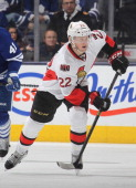 Erik Condra of the Ottawa Senators skates against the Toronto Maple Leafs during an NHL game at the Air Canada Centre on February 1 2014 in Toronto...