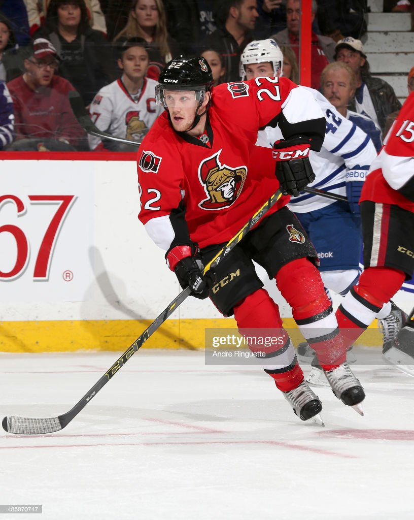 Erik Condra of the Ottawa Senators skates against the Toronto Maple Leafs at Canadian Tire Centre on April 12 2014 in Ottawa Ontario Canada