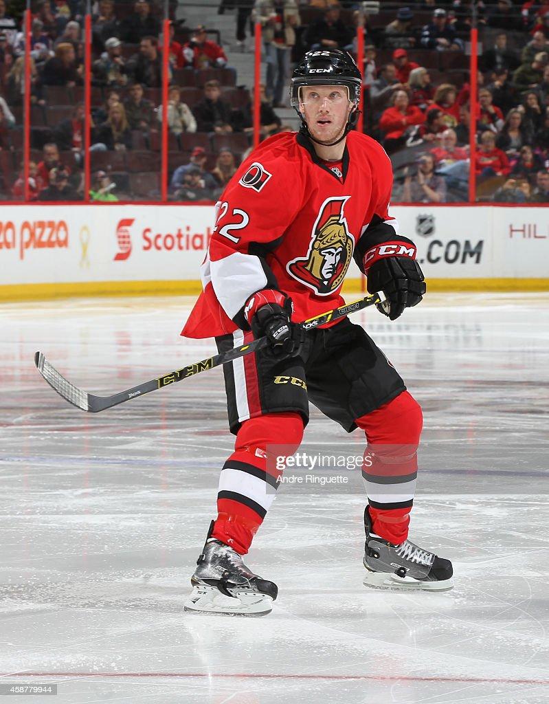Erik Condra of the Ottawa Senators skates against the Winnipeg Jets at Canadian Tire Centre on November 8 2014 in Ottawa Ontario Canada