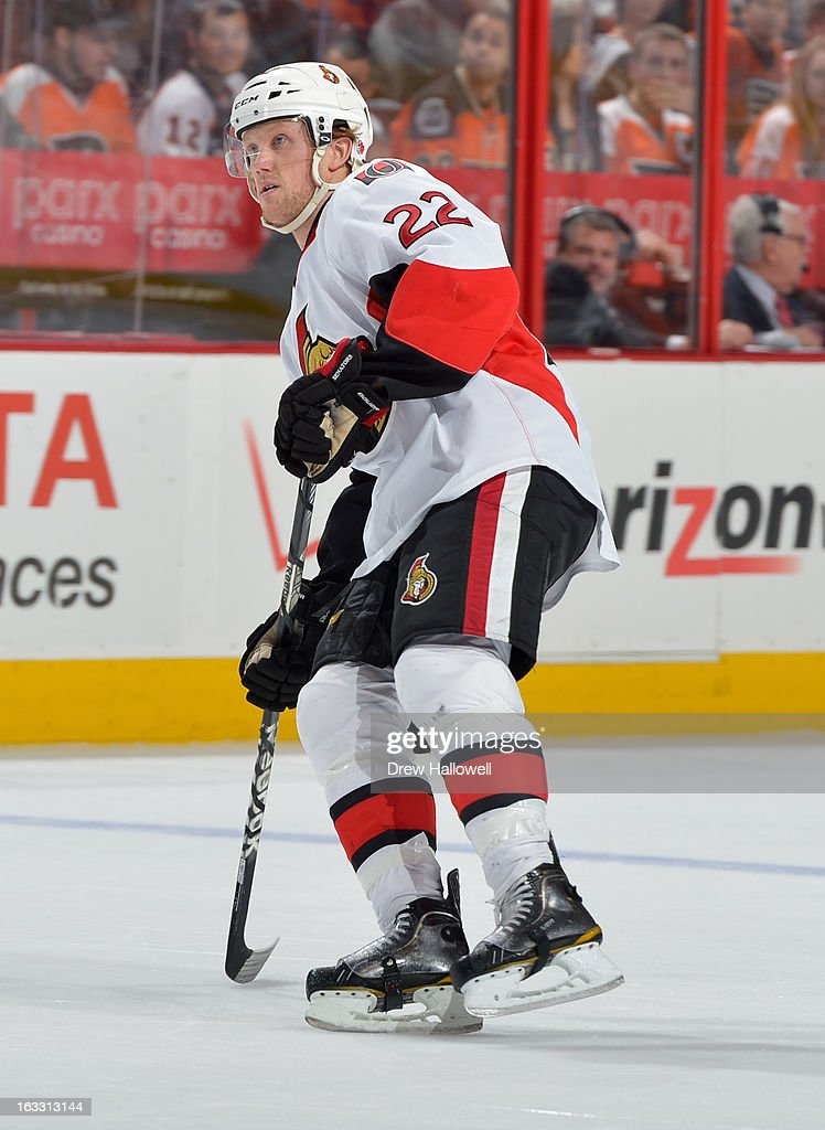 Erik Condra #22 of the Ottawa Senators skates during the game against the Philadelphia Flyers at the Wells Fargo Center on March 2, 2013 in Philadelphia, Pennsylvania.