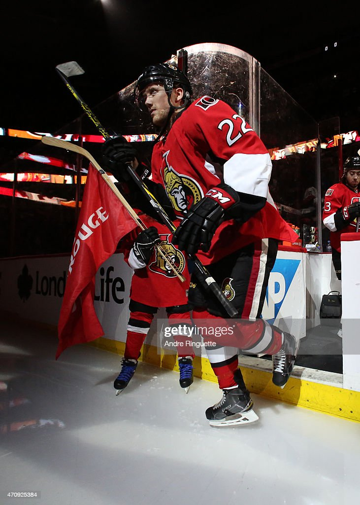 Erik Condra of the Ottawa Senators steps onto the ice during player introductions prior to playing against the Montreal Canadiens in Game Four of the...