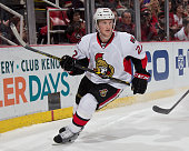 Erik Condra of the Ottawa Senators turns up ice against the Detroit Red Wings during a NHL game on March 31 2015 at Joe Louis Arena in Detroit...