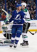 Erik Condra of the Tampa Bay Lightning celebrates a goal against the Dallas Stars during the third period at the Amalie Arena on October 15 2015 in...