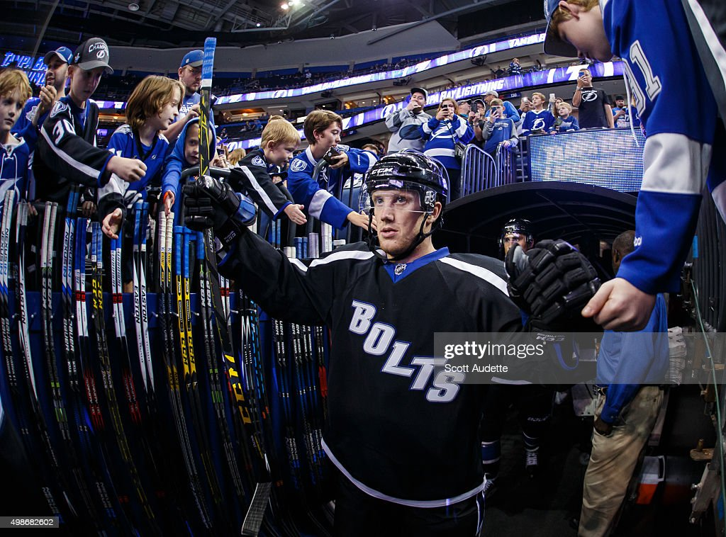 Erik Condra of the Tampa Bay Lightning heads out to the ice for the pregame warm ups against the Anaheim Ducks at the Amalie Arena on November 21...
