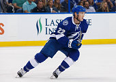 Erik Condra of the Tampa Bay Lightning skates against the Dallas Stars during the first period at the Amalie Arena on October 15 2015 in Tampa Florida