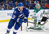 Erik Condra of the Tampa Bay Lightning skates against the Dallas Stars during the third period at the Amalie Arena on October 15 2015 in Tampa Florida