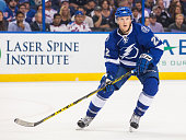 Erik Condra of the Tampa Bay Lightning skates against the New York Rangers during the first period at Amalie Arena on November 19 2015 in Tampa...