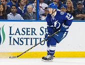 Erik Condra of the Tampa Bay Lightning skates against the New York Rangers during the third period at the Amalie Arena on November 19 2015 in Tampa...