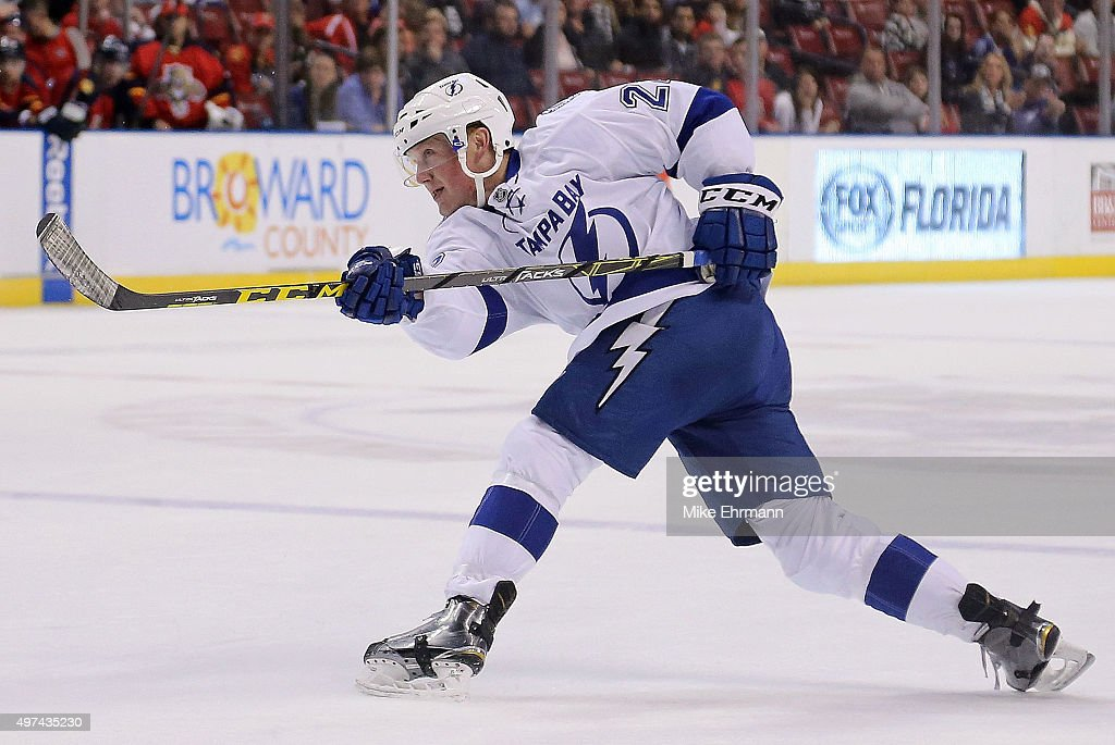 Erik Condra of the Tampa Bay Lightning takes a shot on goal during a game against the Florida Panthers at BBT Center on November 16 2015 in Sunrise...