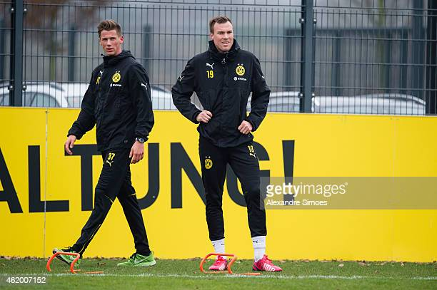 Erik Durm and Kevin Grosskreutz of Borussia Dortmund during a training session at Borussia Dortmund training center on January 23 2015 in Dortmund...