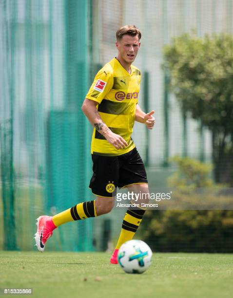 Erik Durm of Borussia Dortmund in action during a training session on July 16 2017 in Tokyo Japan