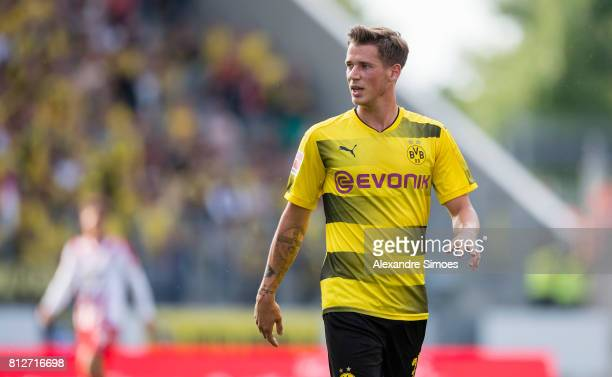 Erik Durm of Borussia Dortmund in action during the friendly match between RotWeiss Essen and Borussia Dortmund at Stadion Essen on July 11 2017 in...