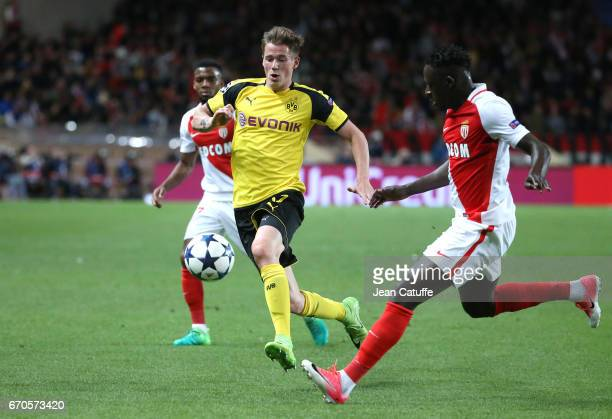 Erik Durm of Dortmund Benjamin Mendy of Monaco during the UEFA Champions League quarter final second leg match between AS Monaco and Borussia...