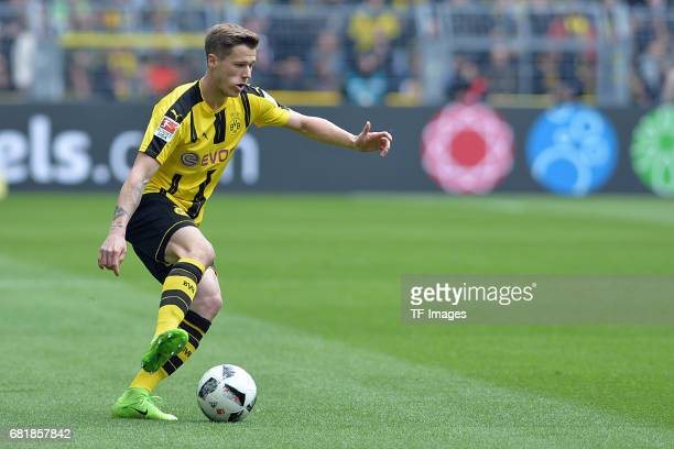 Erik Durm of Dortmund controls the ball during the Bundesliga match between Borussia Dortmund and FC Koeln at Signal Iduna Park on April 29 2017 in...