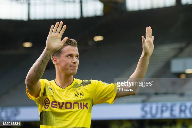 Erik Durm of Dortmund welcomes the fans during the Borussia Dortmund Season Opening 2017/18 at Signal Iduna Park on August 4 2017 in Dortmund Germany