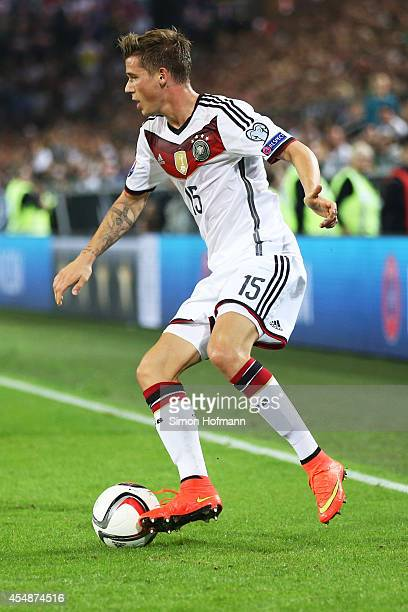 Erik Durm of Germany controls the ball during the EURO 2016 Qualifier match between Germany and Scotland at Signal Iduna Park on September 7 2014 in...