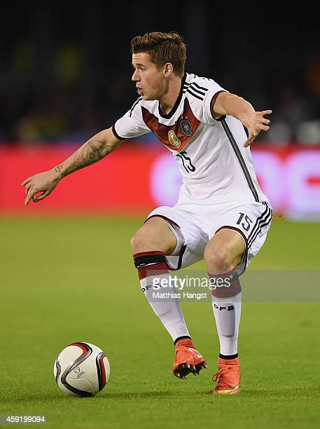 Erik Durm of Germany controls the ball during the International Friendly match between Spain and Germany at Estadio Balaidos on November 18 2014 in...