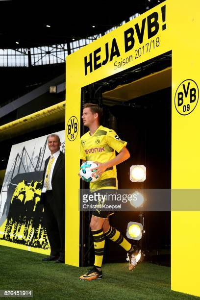 Erik Durm welcomes the fans during the Borussia Dortmund Season Opening 2017/18 at Signal Iduna Park on August 4 2017 in Dortmund Germany