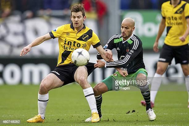 Erik Falkenburg of NAC Breda Karim El Ahmadi of Feyenoord during the Dutch Eredivisie match between NAC Breda and Feyenoord at the Rat Verlegh...