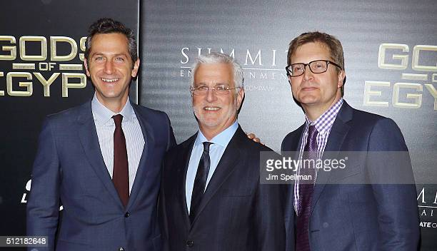 Erik Feig Rob Friedman and Geoffrey Shaevitz attend the 'Gods Of Egypt' New York premiere at AMC Loews Lincoln Square 13 on February 24 2016 in New...