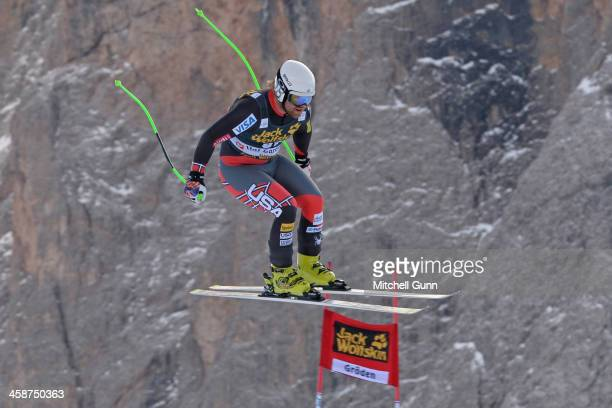 Erik Fisher of the USA races down the course during the Audi FIS Alpine Ski World Cup Men's Downhill race on December 21 2013 in Val Gardena Italy