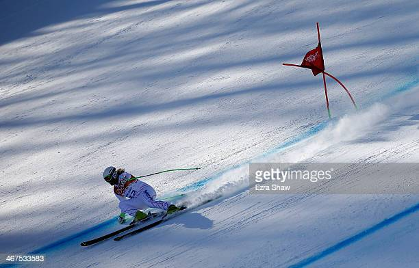 Erik Fisher of the USA skis during training for the Alpine Skiing Men's Downhill ahead of the Sochi 2014 Winter Olympics at Rosa Khutor Alpine Center...