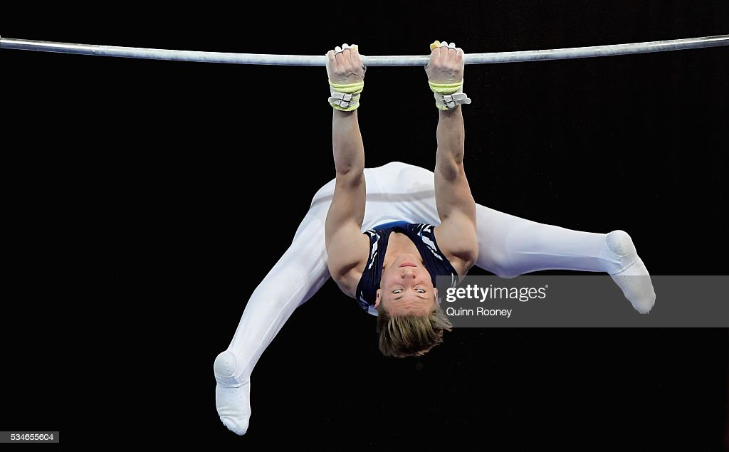 Erik Grabandt of Victoria competes on the high bar during the 2016 Australian Gymnastics Championships at Hisense Arena on May 27, 2016 in Melbourne, Australia.