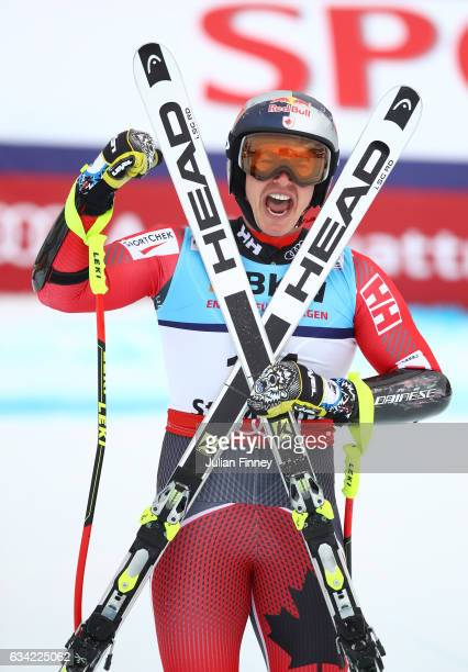 Erik Guay of Canada celebrates after finishing his run during the Men's Super G during the FIS Alpine World Ski Championships on February 8 2017 in...