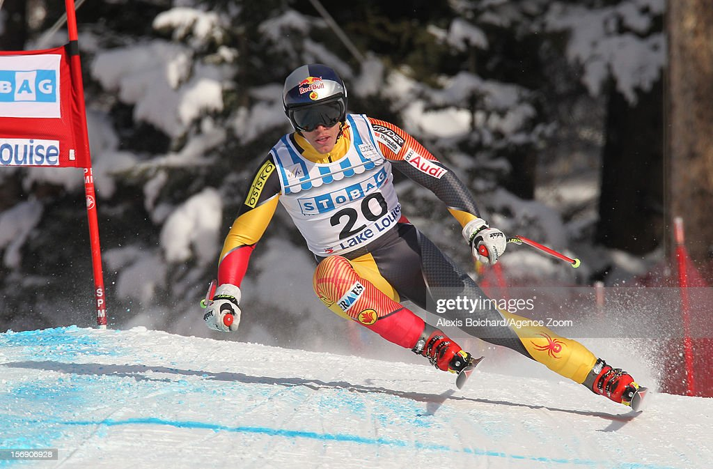 Erik Guay of Canada competes during the Audi FIS Alpine Ski World Cup Men's Downhill on November 24, 2012 in Lake Louise, Alberta, Canada.