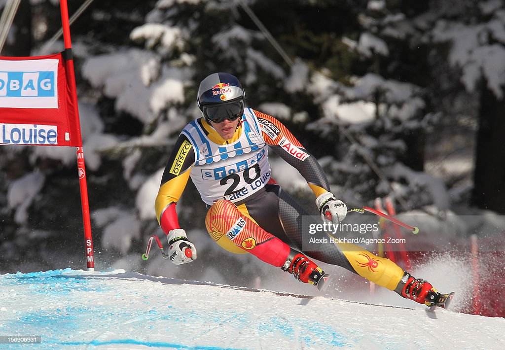 <a gi-track='captionPersonalityLinkClicked' href=/galleries/search?phrase=Erik+Guay&family=editorial&specificpeople=871129 ng-click='$event.stopPropagation()'>Erik Guay</a> of Canada competes during the Audi FIS Alpine Ski World Cup Men's Downhill on November 24, 2012 in Lake Louise, Alberta, Canada.