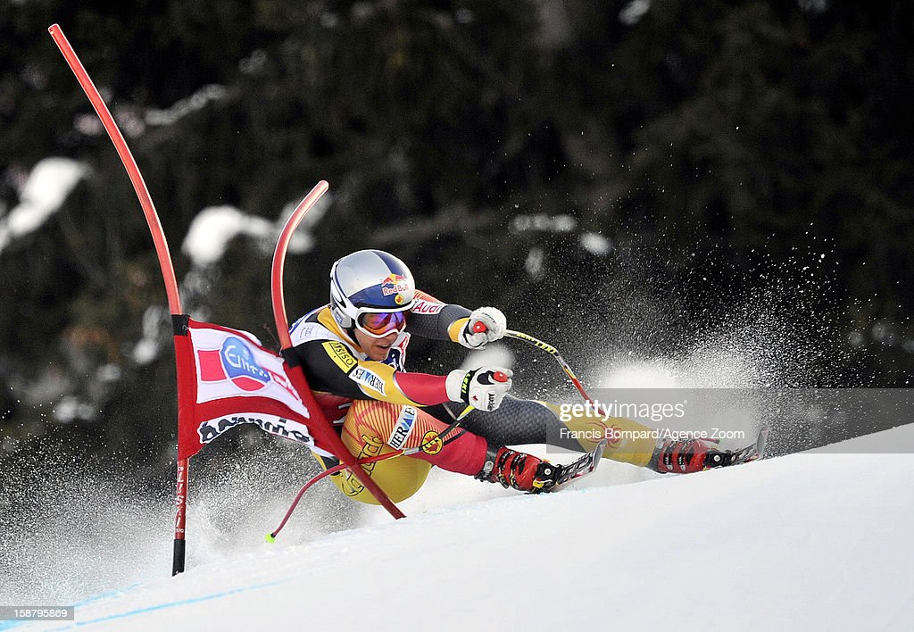 Erik Guay of Canada competes during the Audi FIS Alpine Ski World Cup Men's Downhill on December 29, 2012 in Bormio, Italy.