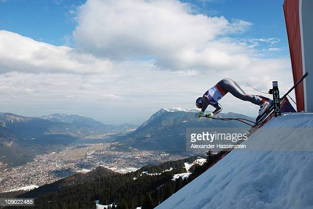 Erik Guay of Canada leaves the starting gate on his way to winning the Men's Downhill during the Alpine FIS Ski World Championships on the Kandahar...