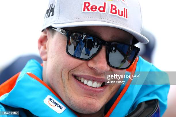 Erik Guay of Canada looks on following his victory during the Men's Super G during the FIS Alpine World Ski Championships on February 8 2017 in St...
