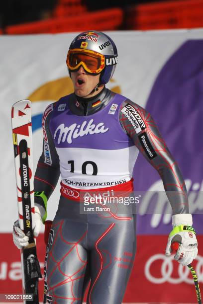 Erik Guay of Canada reacts in the finish area after skiing in the Men's Downhill during the Alpine FIS Ski World Championships on the Kandahar course...