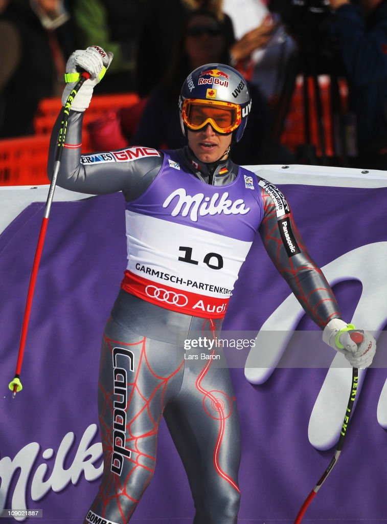 Erik Guay of Canada reacts in the finish area after skiing in the Men's Downhill during the Alpine FIS Ski World Championships on the Kandahar course on February 12, 2011 in Garmisch-Partenkirchen, Germany.