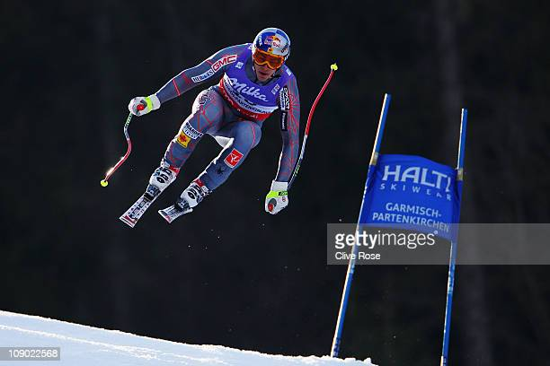 Erik Guay of Canada skis on his way to winning the Men's Downhill during the Alpine FIS Ski World Championships on the Kandahar course on February 12...