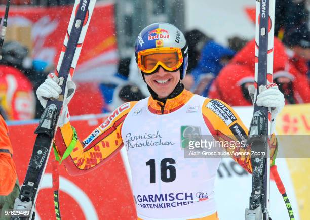 Erik Guay of Canada smiles after winning the globe for the overall World Cup Super G during the Audi FIS Alpine Ski World Cup Men's Super G on March...