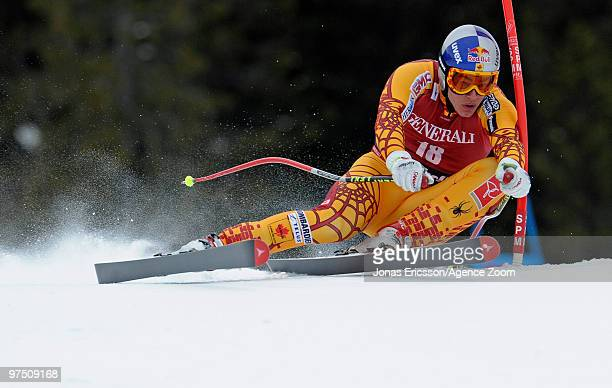 Erik Guay of Canada takes 1st place during the Audi FIS Alpine Ski World Cup Men's Super G on March 7 2010 in Kvitfjell Norway