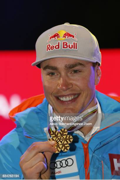 Erik Guay of Canada wins the gold medal during the FIS Alpine Ski World Championships Men's SuperG on February 08 2017 in St Moritz Switzerland