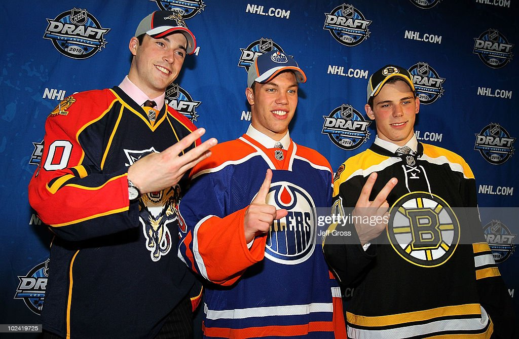 Erik Gudbranson, drafted third overall by the Florida Panthers, Taylor Hall, drafted #1 overall by the Edmonton Oilers and Tyler Seguin, drafted second overall by the Boston Bruins pose during the 2010 NHL Entry Draft at Staples Center on June 25, 2010 in Los Angeles, California.