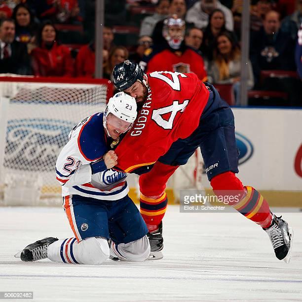 Erik Gudbranson of the Florida Panthers fights with Matt Hendricks of the Edmonton Oilers at the BBT Center on January 18 2016 in Sunrise Florida