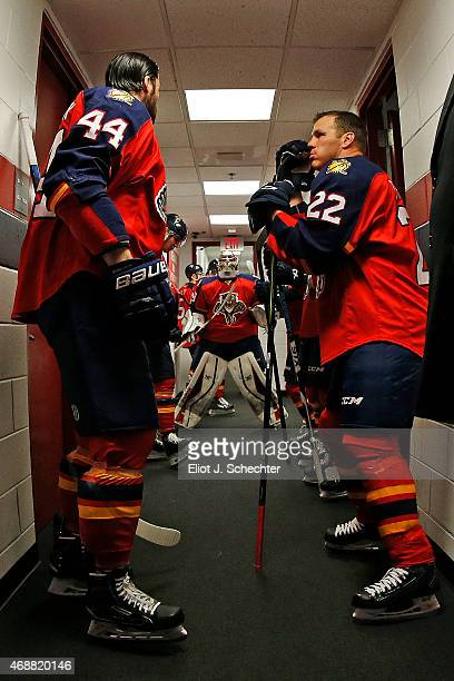 Erik Gudbranson of the Florida Panthers outside the dressing room with teammates Shawn Thornton while Goaltender Dan Ellis gets set to head out prior...