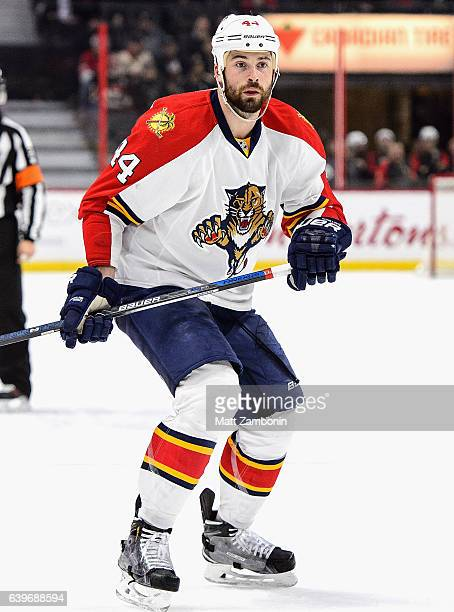 Erik Gudbranson of the Florida Panthers plays in the game against the Ottawa Senators at Canadian Tire Centre on January 7 2016 in Ottawa Ontario...