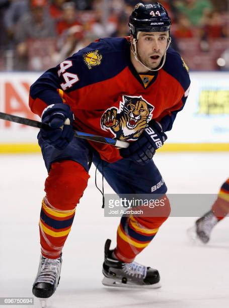 Erik Gudbranson of the Florida Panthers plays in the game against the Buffalo Sabreblocks a shotat BBT Center on December 6 2014 in Sunrise Florida