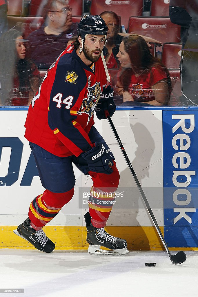 Erik Gudbranson #44 of the Florida Panthers skates on the ice prior to the start of the game against the Columbus Blue Jackets at the BB&T Center on April 12, 2014 in Sunrise, Florida.