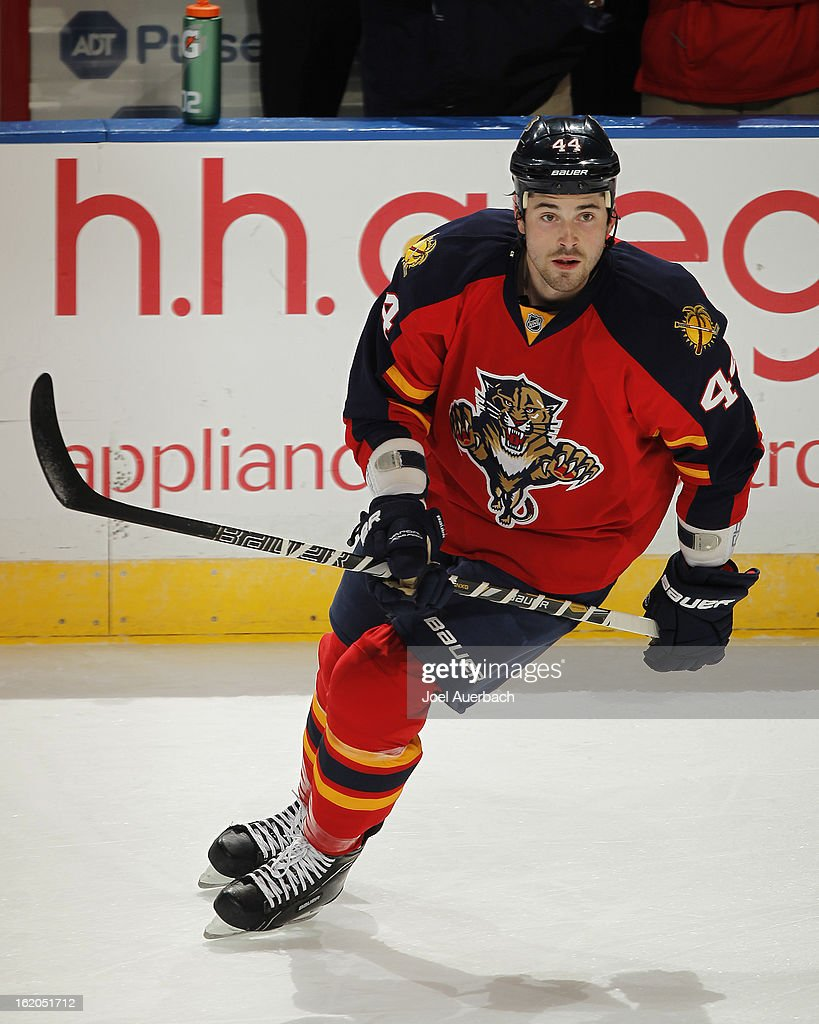 Erik Gudbranson #44 of the Florida Panthers skates prior to the game against the Toronto Maple Leafs at the BB&T Center on February 18, 2013 in Sunrise, Florida.