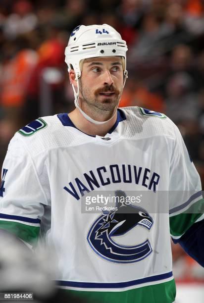 Erik Gudbranson of the Vancouver Canucks looks on against the Philadelphia Flyers on November 21 2017 at the Wells Fargo Center in Philadelphia...