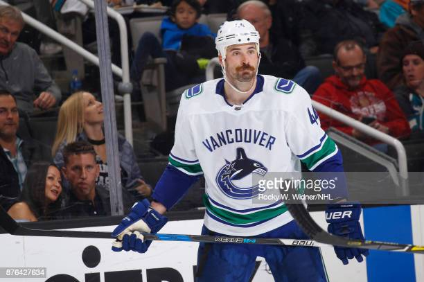Erik Gudbranson of the Vancouver Canucks looks on during the game against the San Jose Sharks at SAP Center on November 11 2017 in San Jose California
