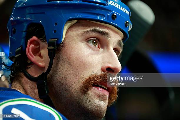 Erik Gudbranson of the Vancouver Canucks looks on from the bench during their NHL game against the Arizona Coyotes at Rogers Arena November 17 2016...