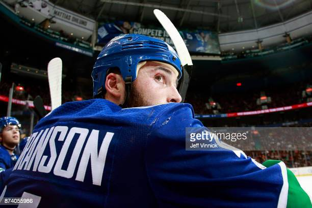Erik Gudbranson of the Vancouver Canucks looks on from the bench during their NHL game against the Dallas Stars at Rogers Arena October 30 2017 in...